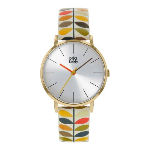 Orla Kiely Dark Cream Dial Stem Print Leather Strap Patricia Watch
