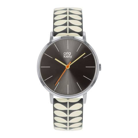 Orla Kiely Grey Dial Stem Print Leather Strap Patricia Watch