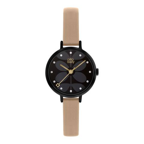 Orla Kiely Black Dial and Pink Leather Strap Ivy Watch