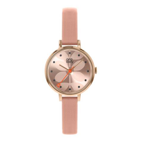 Orla Kiely Pale Rose Gold Dial & Sand Leather Strap Ivy Watch