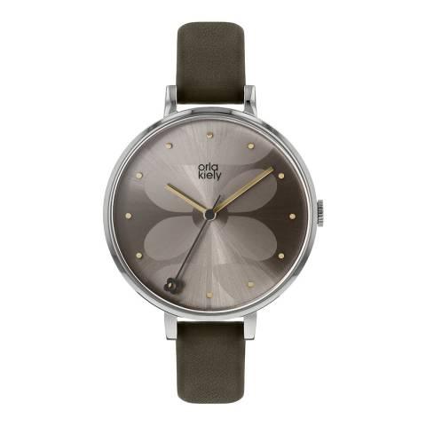 Orla Kiely Warm Grey Dial Stem Print Dark Olive Ivy Watch
