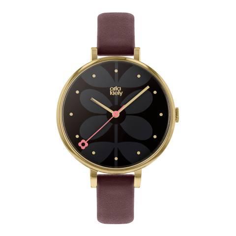 Orla Kiely Black Dial Subtle Stem Print Watch