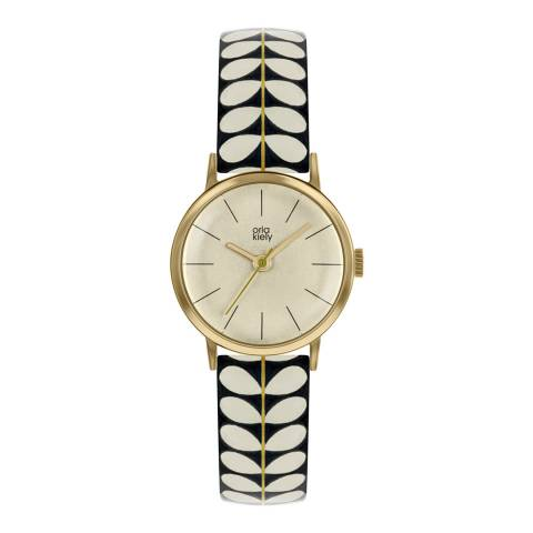 Orla Kiely Dark Cream Dial Stem Print Leather Strap Watch
