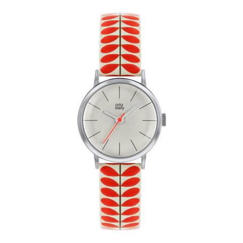 Orla Kiely Cream Dial & Red Stem Print Leather Strap Watch