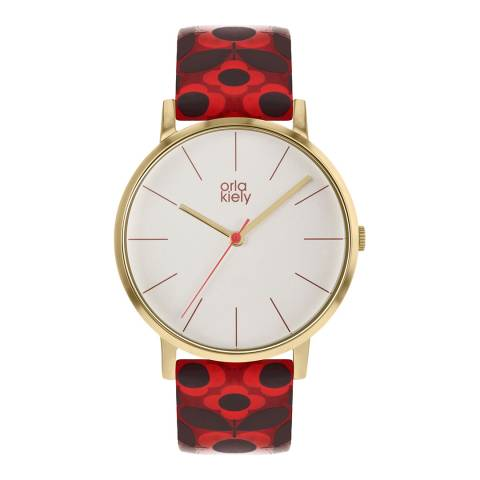 Orla Kiely Cream Dial & Dark Red Printed Flower Pattern watch