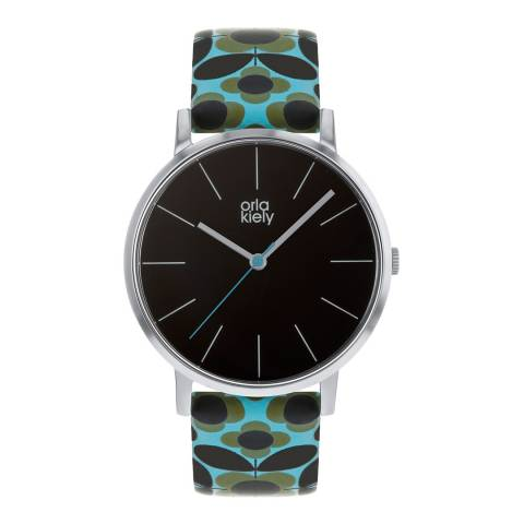 Orla Kiely Black Dial & Blue Printed Flower Pattern Watch