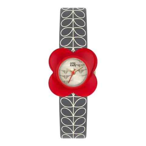 Orla Kiely Cream Dial & Grey Stem Print Leather Strap Poppy Watch