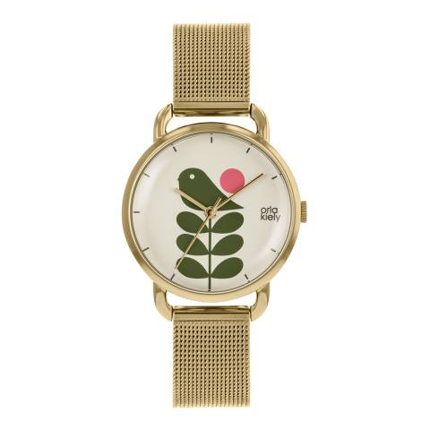 Orla Kiely Cream Dial & Gold Plated Avery Stem Watch