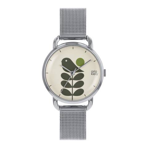 Orla Kiely Cream Dial & Silver Plated Avery Stem Watch