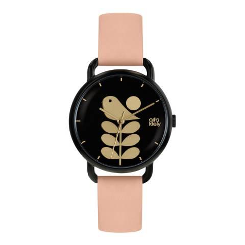 Orla Kiely Black Dial & Pale Pink Avery Stem Watch