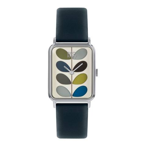 Orla Kiely Pale Cream Dial & Navy Blue Leather Strap Stem Watch