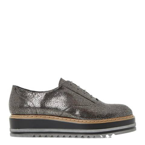 Dune London Pewter Leather Follow Metallic Flatforms