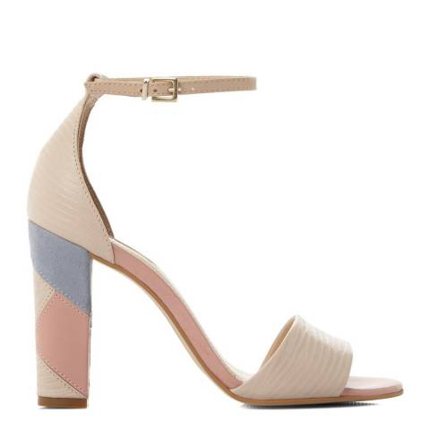 Dune Nude Leather Harpest Patchwork Block Heel Sandals
