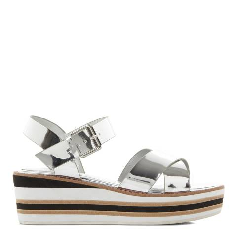 Dune Silver Keegans Stripe Wedge Cross Strap Sandals