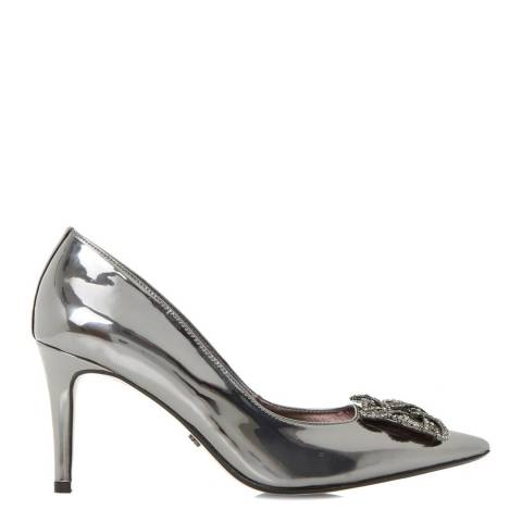 Dune London Pewter Metallic Betti Jewelled Brooch Court Shoes