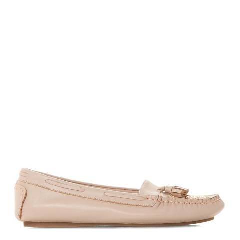 Dune London Blush Leather Greatful Stud Detail Tassel Moccasins