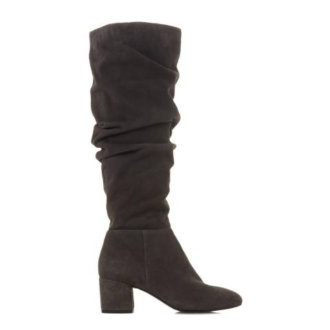 Dune London Grey Suede Sarento Ruched Knee High Boots