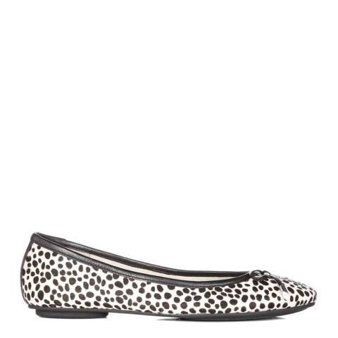 Dune Black & White Pony Hair Harpss Ballet Pumps