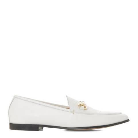 Dune London White Croc Leather Metal Saddle Trim Loafers