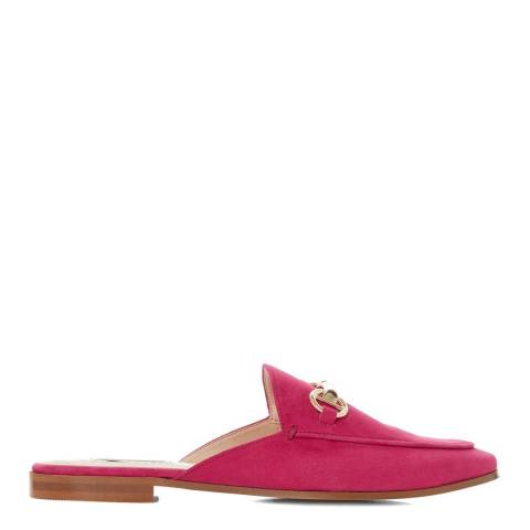 Dune London Pink Suede Gene Metal Trim Mules
