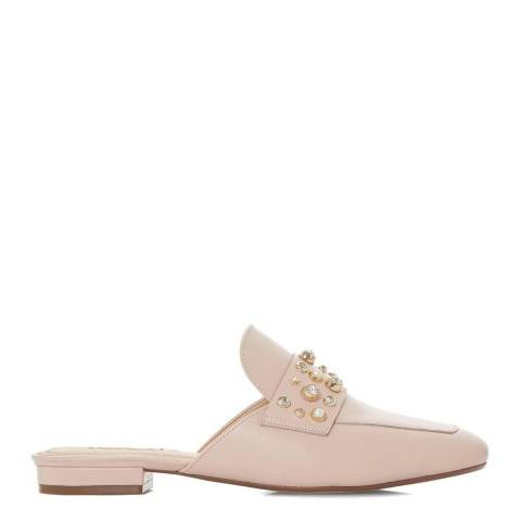 Dune London Blush Leather Gellar Pearl Backless Mules