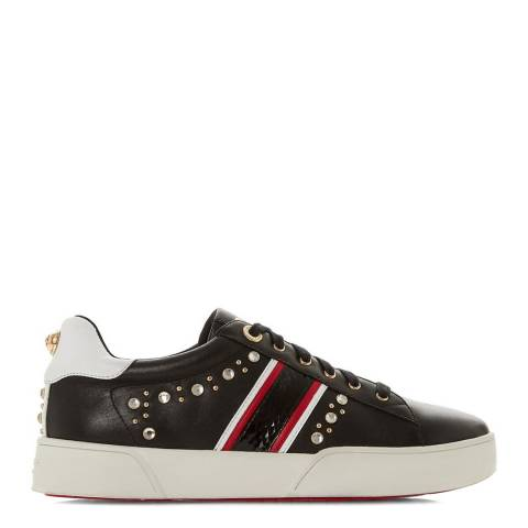 Dune London Black Leather Eryn Embellished Sport Trainers
