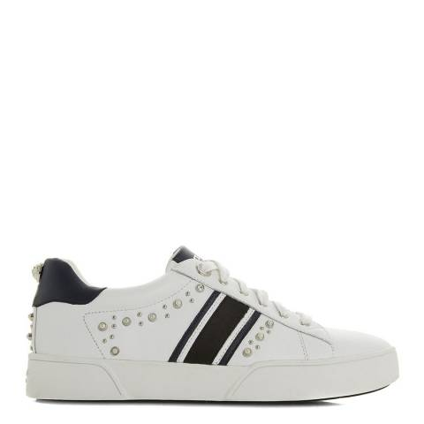 Dune White Leather Eryn Embellished Sport Trainers