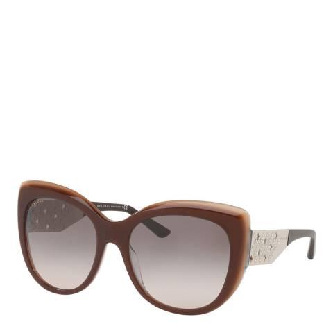 Bvlgari Women's Brown Beige Sunglasses 57mm