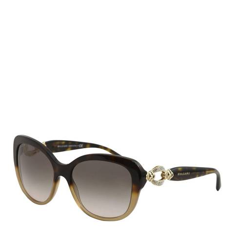 Bvlgari Women's Havana Brown Oversized Sunglasses 57mm