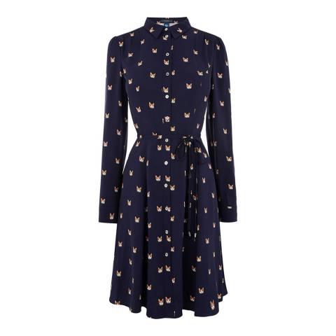 Oasis Navy Cat Skater Long Shirt Dress