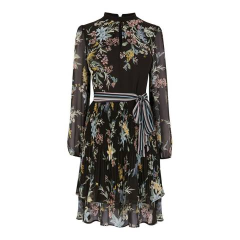 Oasis Black/Multi Winter Jasmine Long Skater Dress