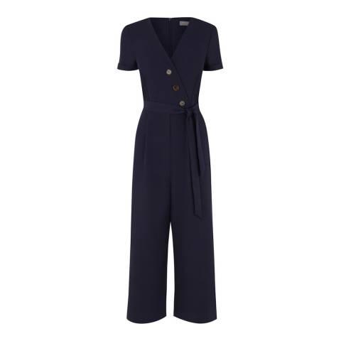 Oasis Navy Button Through Jumpsuit