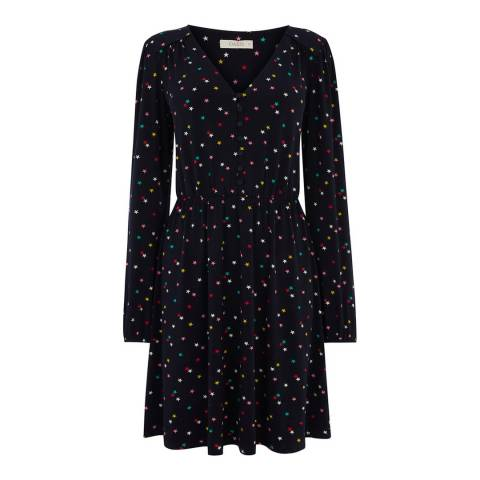 Oasis Navy/Multi Star Button Short Skater Dress