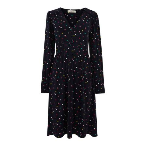 Oasis Navy/Multi Star Button Long Skater Dress