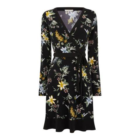 Oasis Black/Multi Curve Jasmine Crepe Wrap Dress