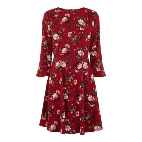 Oasis Multi/Red Renaissance Rose Skater Dress