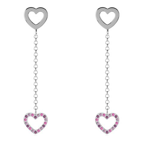 Radley Silver Double Heart Drop Earrings