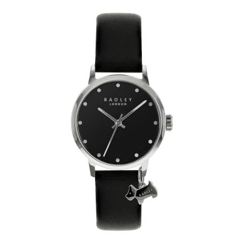 Radley Black Leather Strap Watch with Hanging Dog Charm