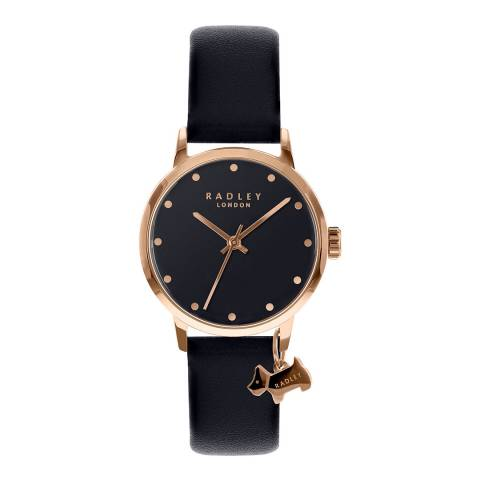 Radley Black Rose Gold Plated Leather Watch