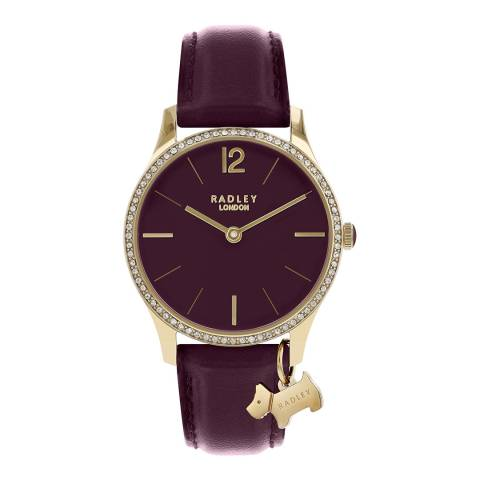 Radley Purple Gold Plated Leather Strap Watch