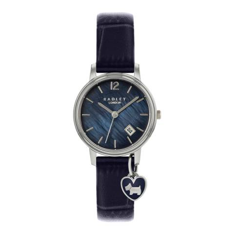 Radley Black Silver Plated Leather Watch