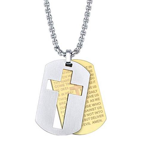 Stephen Oliver 18K Gold Plated / Silver Plated Inspirational Cross Tag Necklace