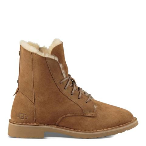 UGG Chestnut Sheepskin Quincy Lace Up Boots