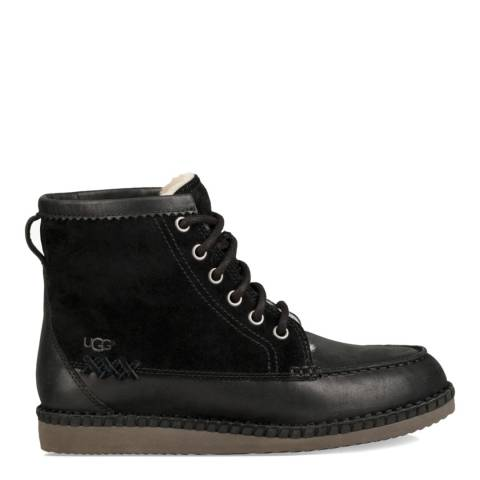 UGG Black Suede & Leather Quinlin Lace Up Boots