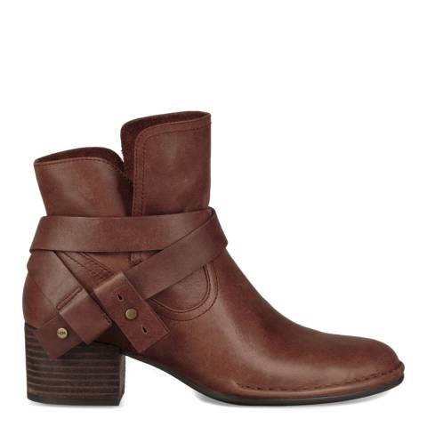 UGG Brown Leather Elysian Ankle Boots
