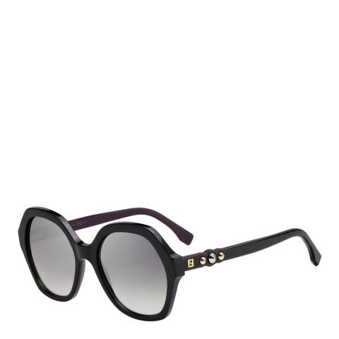 Fendi Women's Black / Silver Grey Shaded Effect Sunglasses 56mm
