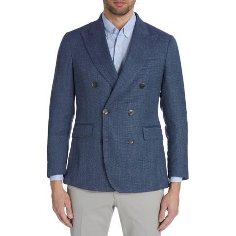 dbf0dfcd8 Hackett London Blue Double Breasted Summer Tweed Jacket