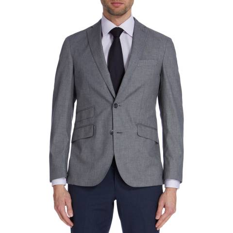 Hackett London Light Grey Mayfair Sharkskin Cotton Jacket