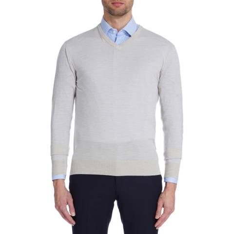 Hackett London Taupe Fine Wool V Neck Jumper