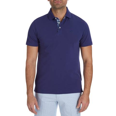 Hackett London Dark Blue Trim Collar Polo Top